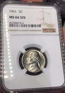 Click now to see the BUY IT NOW Price! 1961 P MS66 5FS  FULL STEPS  JEFFERSON 5C NGC CRISP/BOLD FULL STEPS  POP 1/1
