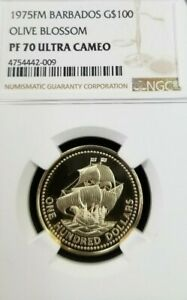 Click now to see the BUY IT NOW Price! 1975 BARBADOS GOLD $100 OLIVE BLOSSOM SHIP NGC PF 70 ULTRA CAMEO PERFECTION