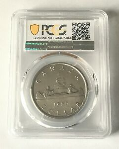 1955 ELIZABETH II 1 DOLLAR CAN  PCGS GENUINE SURFACES SMOOTHED AU DETAIL