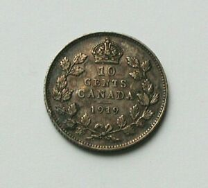 1919 CANADA GEORGE V SILVER COIN   10 CENTS   TONED