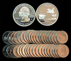 ROLL OF 40 2004 S PROOF FLORIDA 90  SILVER QUARTERS