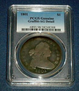 PCGS 1801 SILVER DRAPED BUST DOLLAR $1