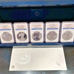 2011 AMERICAN SILVER EAGLE 25TH ANNIVERSARY SET NGC MS70 PF70 ASE 5 COIN SET