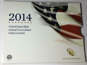 2014 US MINT ANNUAL UNCIRCULATED DOLLAR COIN SET W  AMERICAN SILVER EAGLE IN OGP