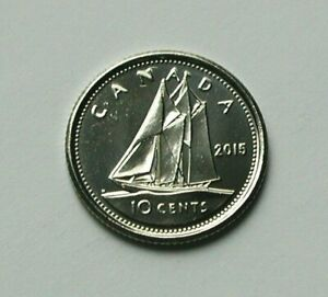 2015 CANADA ELIZABETH II COIN   10 CENTS   MS   UNC LUSTRE  FROM MINT ROLL  SHIP