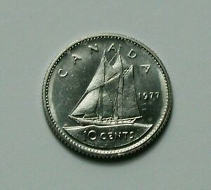 1977 CANADA ELIZABETH II COIN   10 CENTS   MS  UNC LUSTRE  FROM MINT ROLL