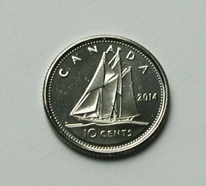 2014 CANADA ELIZABETH II COIN   10 CENTS   MS   UNC LUSTRE  FROM MINT ROLL  SHIP