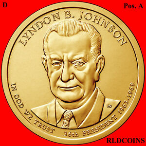 2015 D POS. A PRESIDENT LYNDON B. JOHNSON UNCIRCULATED PRESIDENTIAL DOLLAR