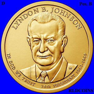 2015 D POS. B PRESIDENT LYNDON B. JOHNSON UNCIRCULATED PRESIDENTIAL DOLLAR