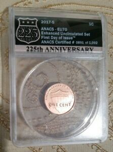 2017 S ENHANCED LINCOLN CENT ANACS EU70 DENVER ANA RELEASE   FIRST DAY OF ISSUE