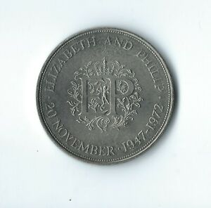 UNITED KINGDOM 1947 1972 SILVER WEDDING CROWN COIN   ACTUAL COIN PICTURED