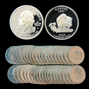 ROLL OF 40 2005 S PROOF KANSAS 90  SILVER QUARTERS