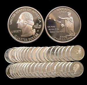 ROLL OF 40 2008 S PROOF HAWAII 90  SILVER QUARTERS