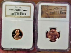 2010 LINCOLN CENT UNION 1ST DAY CEREMONY NGC MS65 RED & 2007 S NGC PR69 PROOF UC