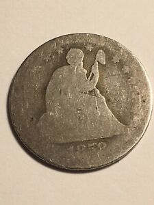 1858 SEATED LIBERTY QUARTER 25C SILVER TYPE COIN