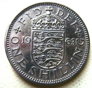 1963 QUEEN ELIZABETH 2ND THREE LIONS ONE SHILLING COIN IN  FINE GRADE