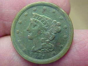 1851 BRAIDED HAIR HALF CENT RIM CLIP MINT ERROR FULL LIBERTY RIM DATE WREATH