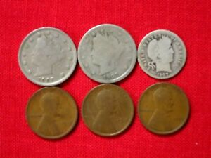 1907   LIBERTY    2   NICKEL & DIME 1909 1910 1917 PENNY CENTS
