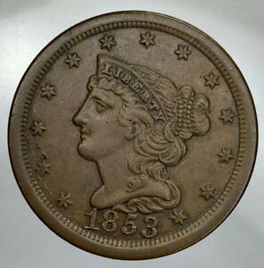 1853 BRAIDED HAIR HALF CENT XF/AU