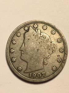 1907 LIBERTY V NICKEL 5C COLLECTIBLE US TYPE COIN NICE DETAILS