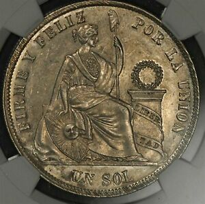 Click now to see the BUY IT NOW Price! 1868 YB PERU SOL ARABIC 1 SILVER   NGC MS61 UNCIRCULATED