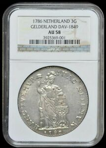 Click now to see the BUY IT NOW Price! 1786 NETHERLANDS GELDERLAND 3 GULDEN NGC AU58 ALMOST UNCIRCULATED
