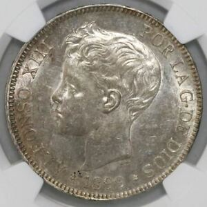 Click now to see the BUY IT NOW Price! SPAIN 1899 SG V 5 PESETAS   ALFONSO XIII NGC MS61 UNCIRCULATED