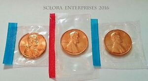 1973 P D S LINCOLN PENNY/CENT SET  3 COINS   MINT CELLO     FREE SHIP