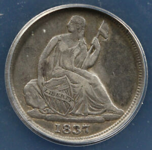 1837 H10C NO STARS SMALL DATE SEATED LIBERTY HALF DIME ANACS VF 25 DETAILS