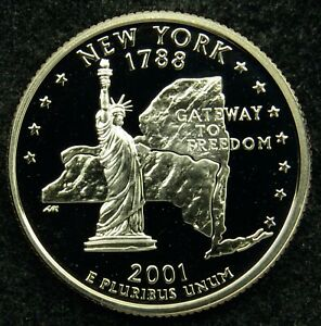 2001 S DEEP CAMEO CLAD PROOF NEW YORK STATE QUARTER  C03
