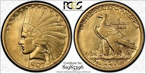 1907 INDIAN HEAD GOLD $10 EAGLE NO MOTTO PCGS XF45