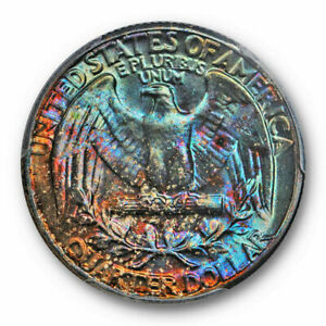 Click now to see the BUY IT NOW Price! 1958 WASHINGTON QUARTER PCGS MS 66  WILD TONED FIRE   VIBRANT COLORS