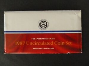 1987 U.S. UNCIRCULATED MINT SET 12 COINS P & D MINTMARKS W/ENVELOPE AND INSERTS
