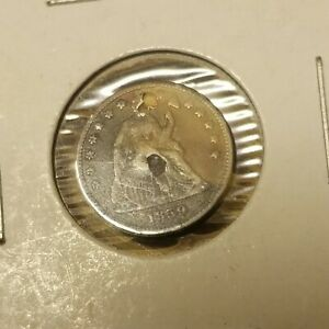 1859 P SEATED LIBERTY HALF DIME SILVER HOLED