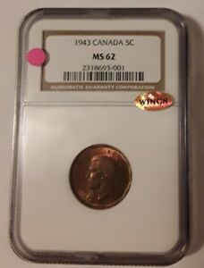 1943 CANADA 5 CENTS NGC MS62 WINGS APPROVED.