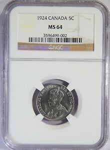 1924 CANADA 5 CENTS NGC MS 64 5C