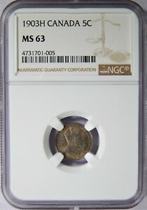 1903 H CANADA 5 CENTS SILVER NGC MS 63 5C