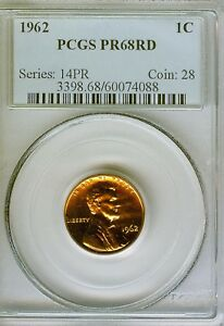 1962 PROOF LINCOLN CENT PCGS PR68 RD  4088  NICE COIN