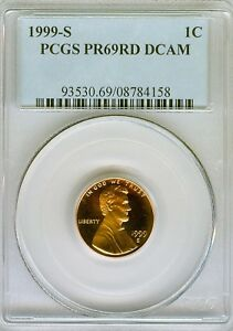 1999 S PROOF LINCOLN CENT PCGS PR69 RD DCAM  . 4158