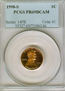 1998 S PROOF LINCOLN CENT PCGS PR69 RD DCAM . 4146