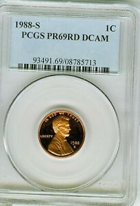1988 S PROOF LINCOLN CENT PCGS PR69 RD DCAM . 5713