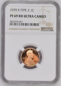 1979 S TYPE 2 LINCOLN CENT NGC PF 69 RD ULTRA CAMEO