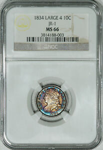Click now to see the BUY IT NOW Price! 1834 NGC MS66 CAPPED BUST DIME     BEAUTIFUL ORIGINAL TONING & EYE APPEAL