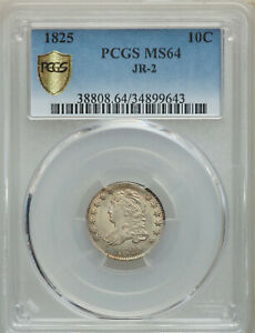 1825 PCGS MS64 CAPPED BUST DIME A NICE LUSTROUS LIGHTLY TONED BEAUTY