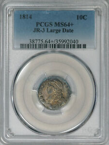 1814 PCGS MS64  CAPPED BUST DIME BEAUTIFUL ORIGINALLY TONED GEM BEAUTY FOR TYPE