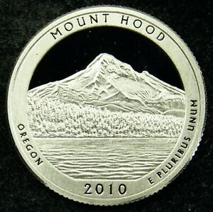 2010 S DEEP CAMEO CLAD PROOF AMERICA THE BEAUTIFUL MOUNT HOOD QUARTER  C01