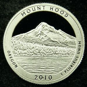 2010 S DEEP CAMEO CLAD PROOF AMERICA THE BEAUTIFUL MOUNT HOOD QUARTER  C03
