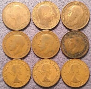LOT OF 9 GREAT BRITAIN PENNIES 1896 1908 1916 1920 1921 1940 1962 63' 66