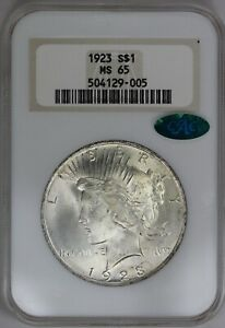 1923 P NGC FATTY SILVER PEACE DOLLAR MS65 CAC NICELY STRUCK   LOTS OF LUSTER