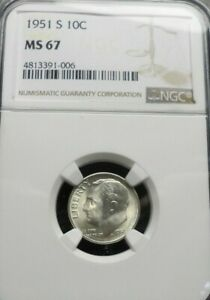 1951 S  ROOSEVELT DIME  NGC  MS 67